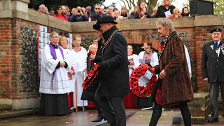 Wreaths being laid at Remembrance Sunday Service in Royston Town. Picture: KEVIN RICHARDS