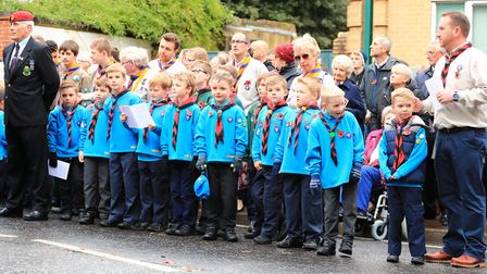 Local Cub Scout at the front of Remembrance Sunday Service in Royston Town. Picture: KEVIN RICHARDS