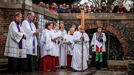 Readings during the Remembrance Sunday Service in Royston Town. Picture: KEVIN RICHARDS