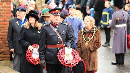 Preparing to lay wreaths at Remembrance Sunday Service in Royston Town. Picture: KEVIN RICHARDS