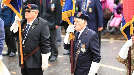 Veteran flag bearers during Remembrance Sunday Service in Royston Town. Picture: KEVIN RICHARDS