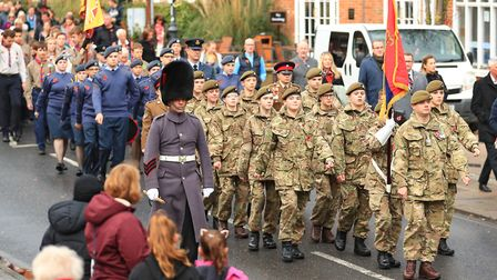 The parade in Melbourne St. before Remembrance Sunday Service in Royston Town. Picture: KEVIN RICHAR