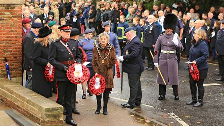 About to lay wreaths at the Royston War Memorial at Remembrance Sunday Service in Royston Town. Pic