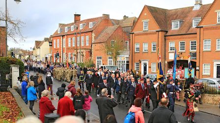 The Remembrance Parade before Remembrance Sunday Service in Royston Town. Picture: KEVIN RICHARDS