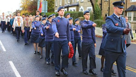 The parade moves swiftly for the Remembrance Sunday Service in Royston Town. Picture: KEVIN RICHARDS