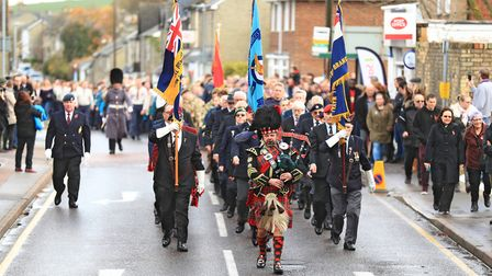 Parade starts to move before Remembrance Sunday Service in Royston Town. Picture: KEVIN RICHARDS