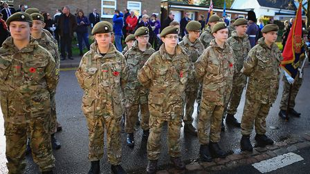 Cadets stand easy before Remembrance Sunday Service in Royston Town. Picture: KEVIN RICHARDS