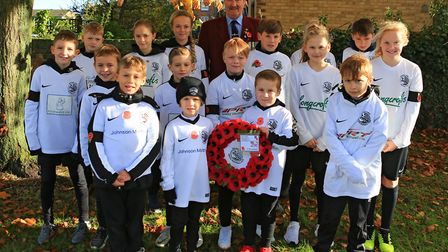 Royston Town Youth FC join this years parade for the Remembrance Sunday Service in Royston Town. Pic