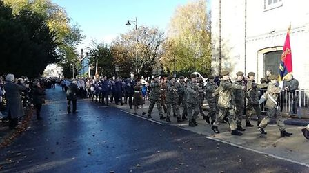 The Remembrance Sunday parade in Royston. Picture: Gemma Rose. P