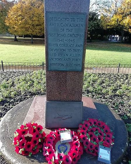 Wreaths at the memorial in Priory Memorial Gardens, which commemorates those members of the United S
