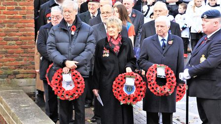 Wreath laying at Royston's Remembrance Sunday service. Picture: Clive Porter