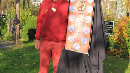 Chair of the St Albans Signal Box Preservation Trust, Tony Furse, unveilling the World War One memor