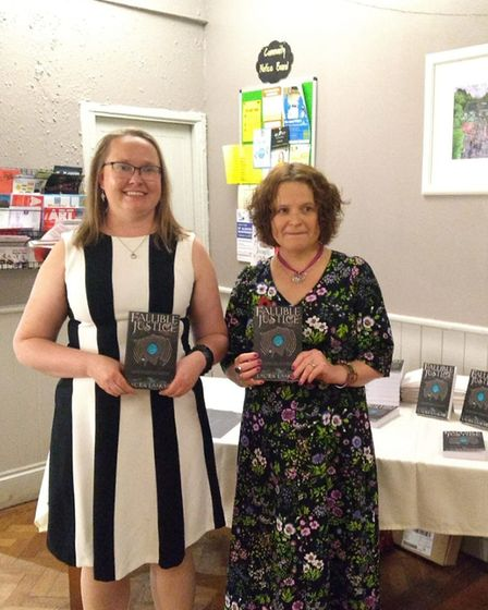 St Albans author Laura Laakso (left) with her publisher Louise Walters at the book launch for her de
