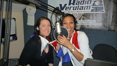 Geraldine Zolynski and Aline Bavister on the night of the first show on 16 Nov 2011. Picture: Radio