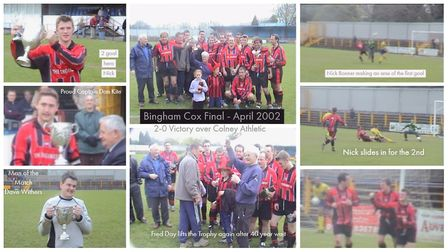 A collage of Harpenden Rovers' Bingham Cox Cup succeess in 2002.