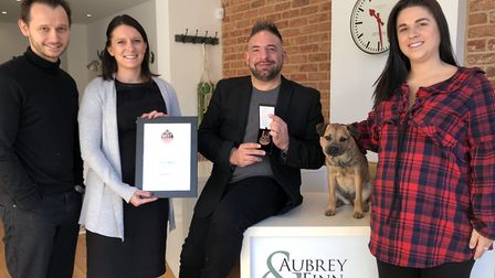 Staff from Aubrey & Finn in St Albans with their EA Masters award. Picture: Aubrey & Finn