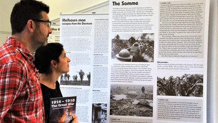 The '1914-1918 The Great War' display at Melbourn Community Hub. Picture: Clive Porter