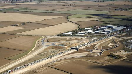The new junction layout at Swavesey for the A14 services – new bridge at the bottom and old bridge t