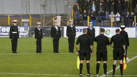 St Albans Sea Cadets led the teams onto the pitch as part of the weekend of remembrance. Picture: LE