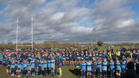 Players and supporters at St Neots Rugby Club fell silent to remember the fallen of the First World