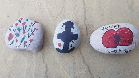 Rocks painted as part of the Royston Poppy Rocks project. Picture: Lorraine McLeod