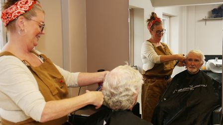 Julie Turner of Harpers Hair Salon in Bassingbourn giving a free haircut in return for a donation to