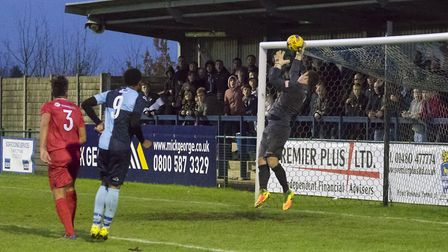 Nabil Shariff sees an effort saved on another frustrating afternoon in front of goal for St Neots To