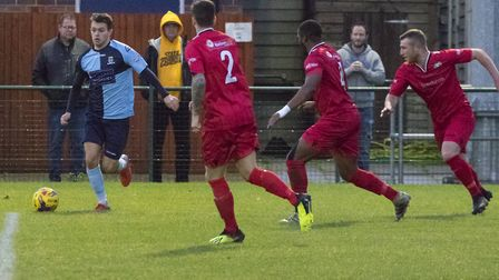 Dylan Williams was harshly dismissed as St Neots Town bowed out of the FA Trophy. Picture: CLAIRE HO