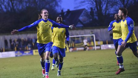 Tom Bender celebrates his goal for St Albans City against Harrogate Town in the 2018 FA Trophy. Pict