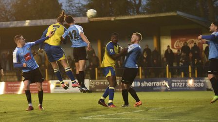 Tom Bender scores for St Albans City against Harrogate Town in the 2018 FA Trophy. Picture: BOB WALK