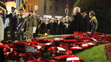 The Rt Revd Dr Alan Smith, the Bishop of St Albanslooks on at the St Albans Remembrance Day Parade
