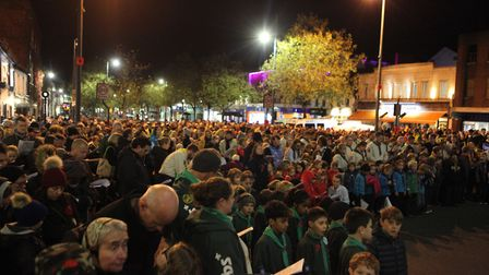 Large Crowds watch the St Albans Remembrance Day Parade 2018. {Craig Shepheard}