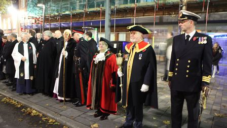 Various dignitaries including the Mayor and the Vice Lord-Lieutenant of Hertfordshire wait for the s