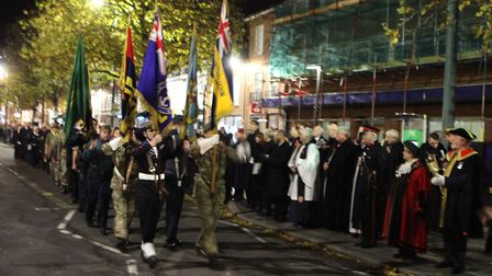 The Salute of the Parade with the flag bearers during the St Albans Remembrance Day Parade 2018. {Cr
