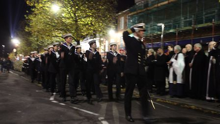 Sailor cadets perform the Salute of the Parade during the St Albans Remembrance Day Parade 2018. {Cr