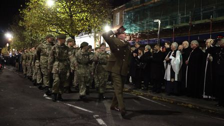 Army Cadets perform the Salute of the Parade during the St Albans Remembrance Day Parade 2018. {Crai
