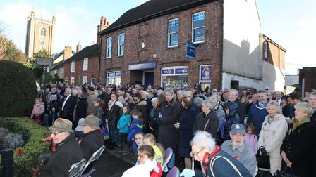 Large crowds gathered for the informal service at 11am of the St Albans Remembrance Day Parade 2018.