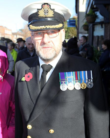 A serviceman proudly wears his medals at the St Albans Remembrance Day Parade 2018. Picture: CRAIG S