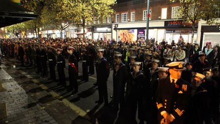 Members of The St Albans Parade wait in St Peters St ahead of the St Albans Remembrance Day Parade 2
