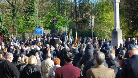 Remembrance Day Service on Watling Street in Radlett. Picture: Clive Glover