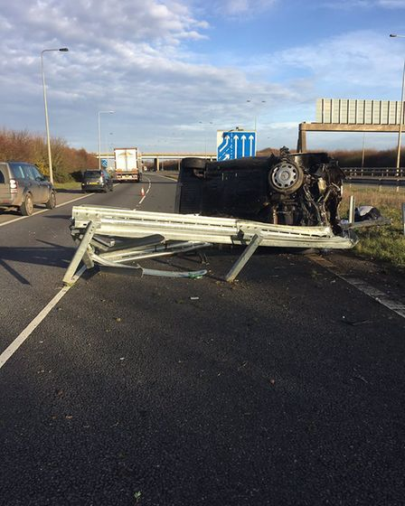 Picture of the crash tweetd by BCH Road Policing