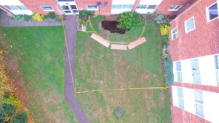 Herts Fire and Rescue's aerial shot of the Cedar Court sinkhole.