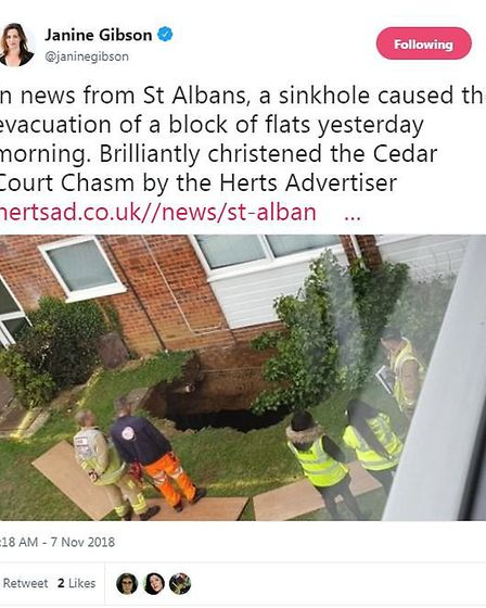 A tweet from Buzzfeed Editor-in-Chief Janine Gibson about yesterday's story on the Cedar Court sinkh