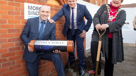 Left to right: project manager Paul Barrett, area director David Rowsell, and Cllr Farmer. Picture: