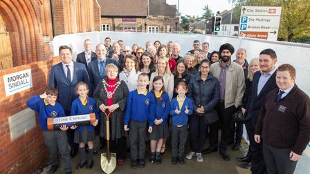 Alban City pupils hold the time capsule. Picture: Morgan Sindall Construction and Infrastructure