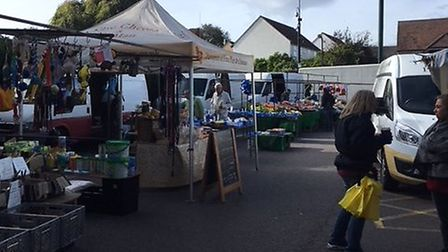 The Dunmow market is currently held in Angel Lane on a Tuesday. Picture: ARCHANT