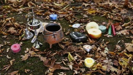 Third degree witch Dee Johnson prepares to perform a spell casting ritual. Picture: DANNY LOO