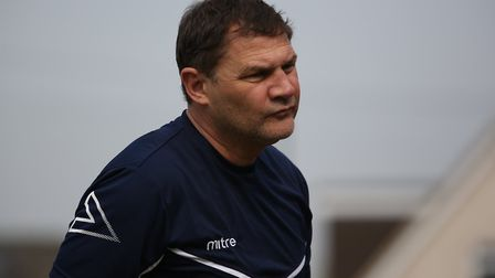 Royston Town manager Steve Castle in the game between Royston Town v Biggleswade Town at Garden Walk
