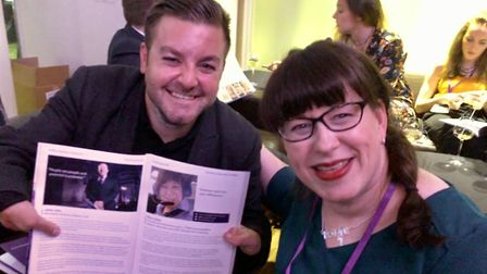 Mary Doyle with Alex Brooker. She has been named in the Shaw Trust Disability Power 100 List 2018. P