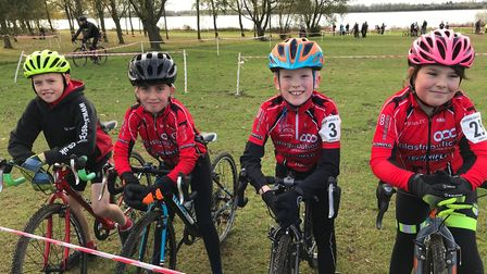 St Ives Cycling Club riders, from the left, Liam Conway, Samuel Smith, Ralph Bricknell and Cora Wood